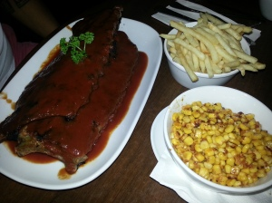 BBQ Ribs, fries & blackened corn