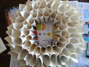 Step 4: final inner circle of smaller cones is glued in place