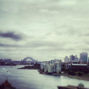 view of the Harbour Bridge over Pyrmont Bay