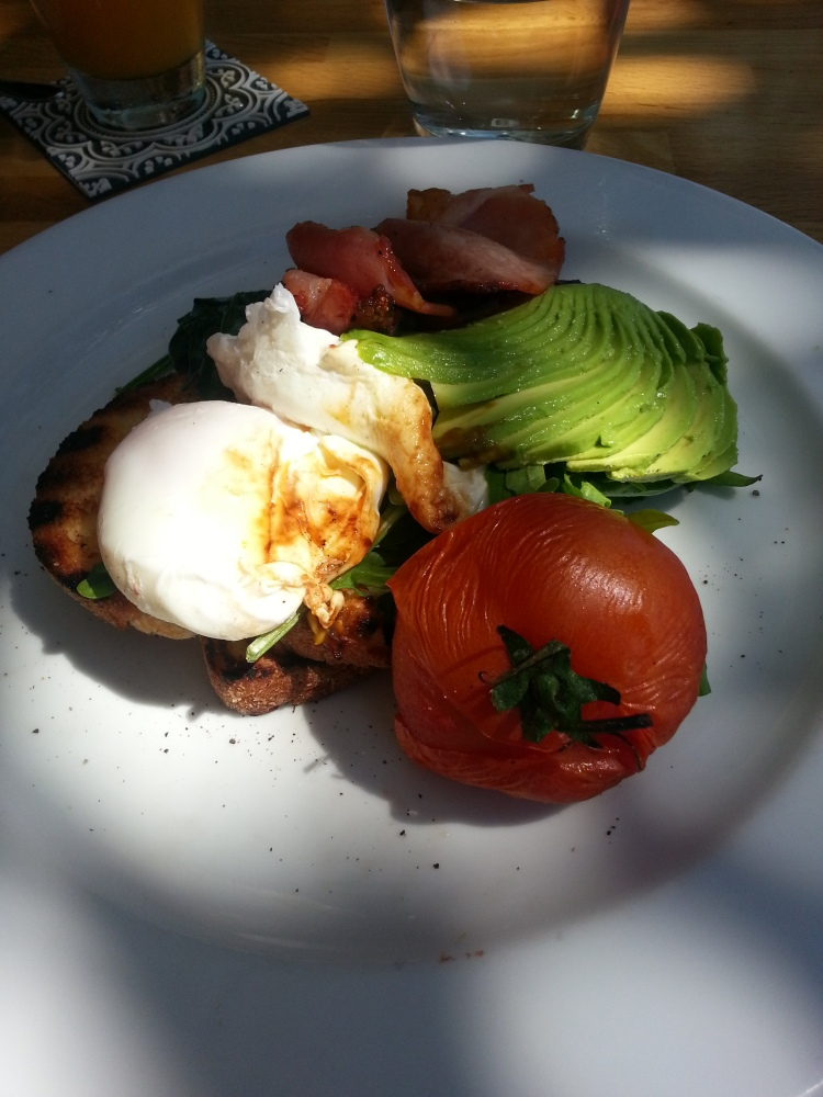 poached eggs with bacon, avocado & roast tomato on sourdough