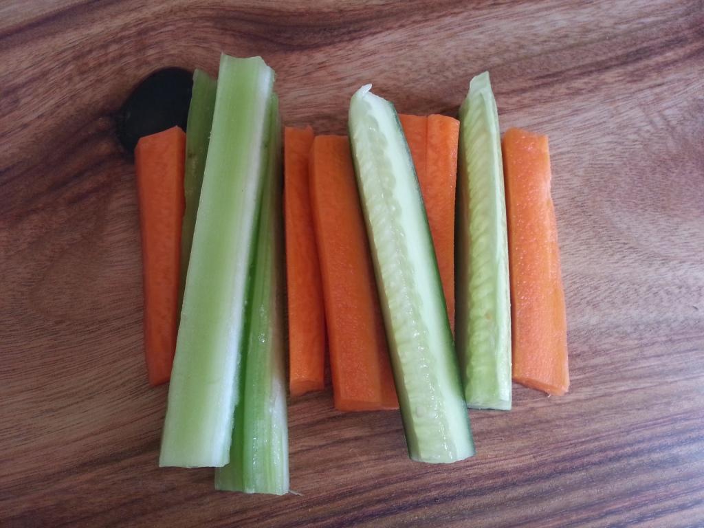 carrot, celery, cucumber sticks
