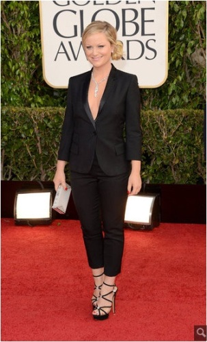 funny girl Amy Poehler kicking butt in a Stella McCartney tuxedo