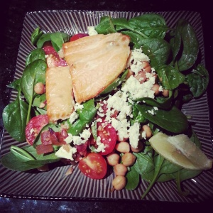 dinner - fish with chickpea, tomato & spinach salad