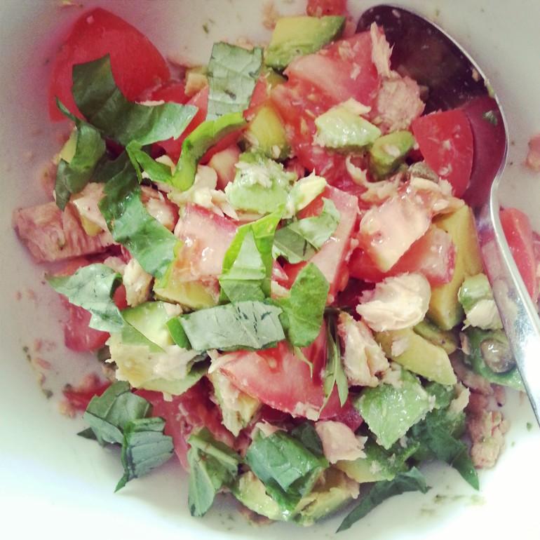 salmon, avocado, tomato, capers & basil