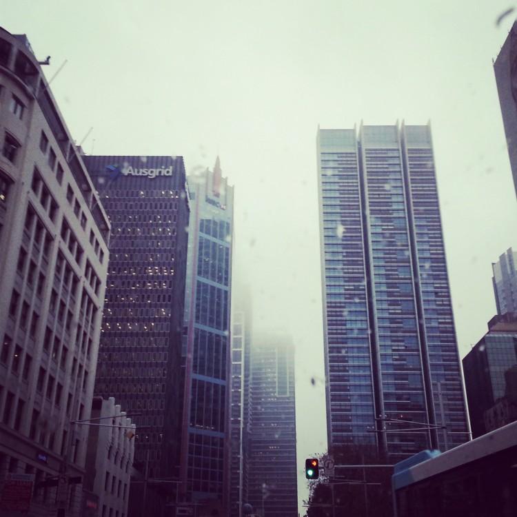 rainy cityscape