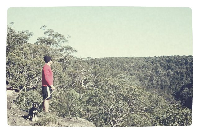 man & beast; Jay & Harley overlooking the gully