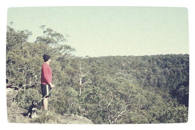 man & beast; Jay & Harley overlooking the gully