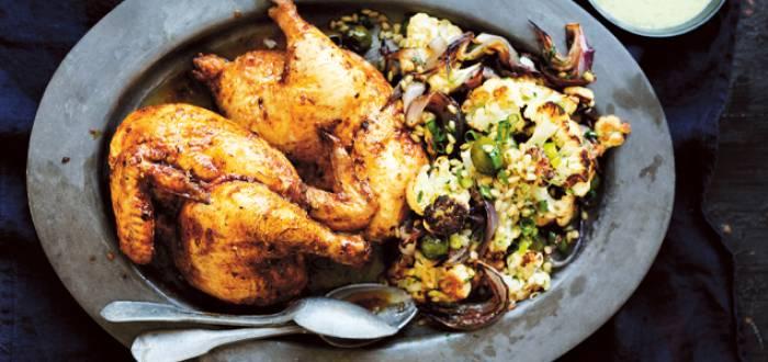 Moroccan Spiced Roast Chicken with Cauliflower & Barley Salad