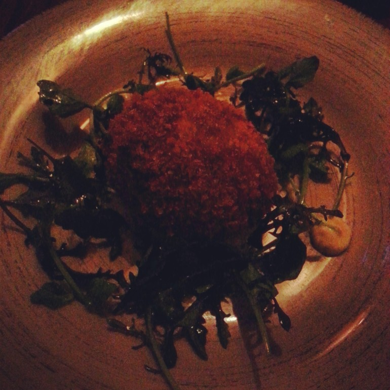 course 2 | oxtail croquette on a bed of herbed mayo & watercress