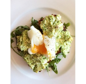 paleo bread with avocado & feta smash and a poachie
