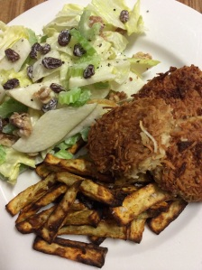 coconut chicken 'nuggets' with sweet potato sticks & waldorf salad