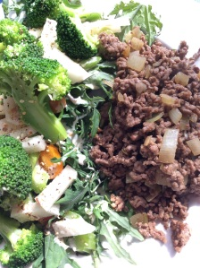 lunch; mince fry-up & salad