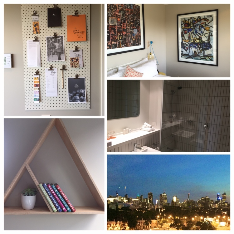small details (clockwise top left): pinboard with little details about the area, artwork on the walls, bathroom, view from the room, wall detail