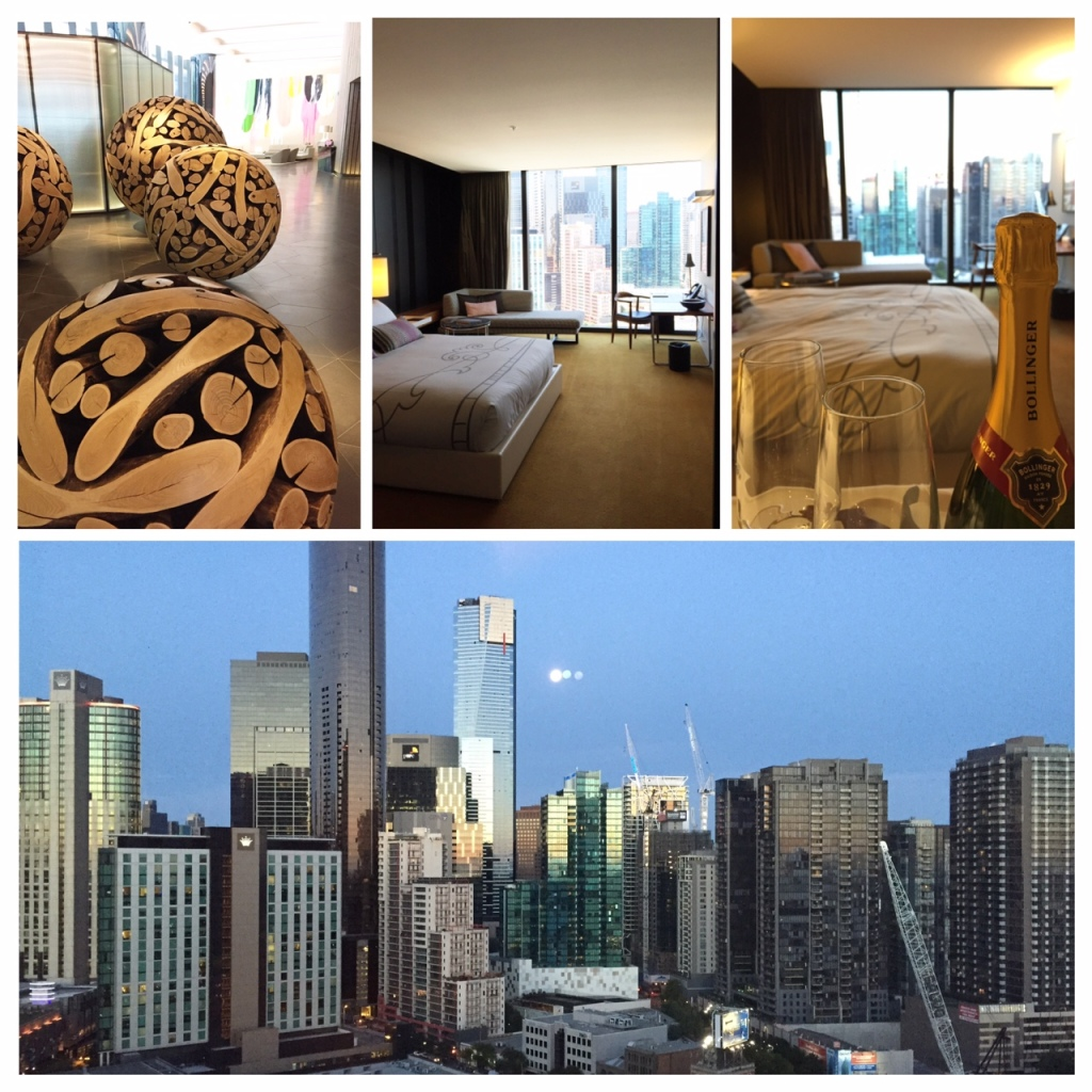 clockwise top left: Crown Metropol foyer, our king deluxe room & the view