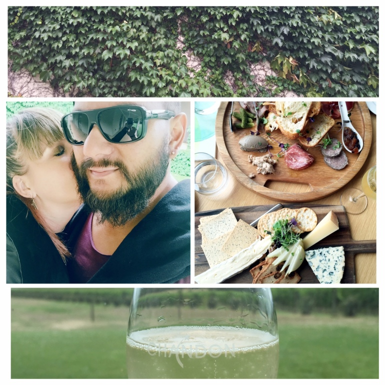 Jay & I eating amazing food & drinking sparkling